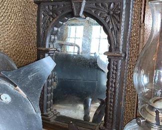 Vintage wood carved mirror