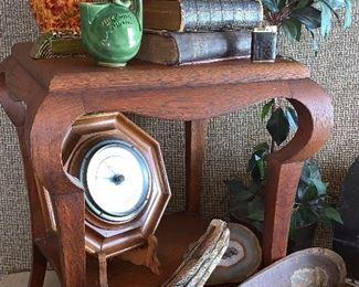 Vintage side table, vintage Bibles