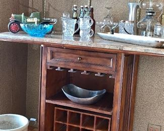 Portable  bar/server w/cultured marble top -