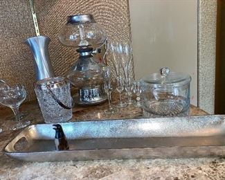 Bar glass wear and long silver tray