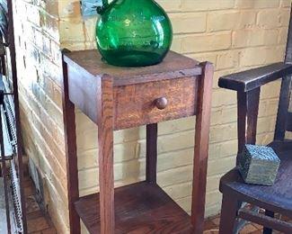 Tall skinny side table, Tall Green Glass Jug