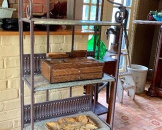Four tiered wrought iron fold-up display shelf unit