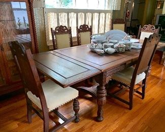 Vintage Moroccan/Spanish dining table and 6 chairs - both ends fold under the table to make it smaller