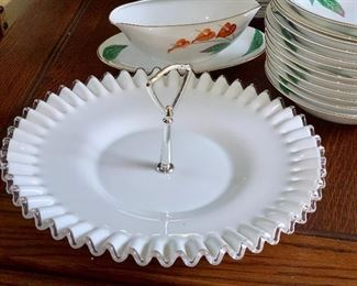 1 of 2 milk glass serving plate w/handle