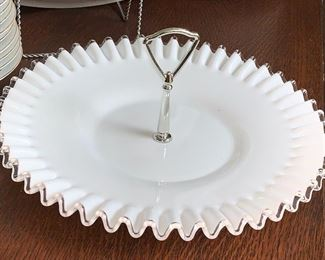 2 of 2 milk glass serving plate w/handle