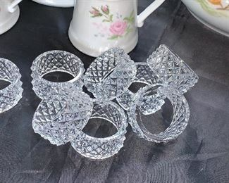 Set of eight glass napkin rings