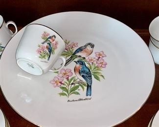 Bareuther Waldsassen Bavaria Germany  Eastern Bluebird dishes w/cake plate