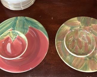 Set of four vegetable plates with matching bowl