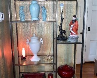 Glass and brass Etagere display unit