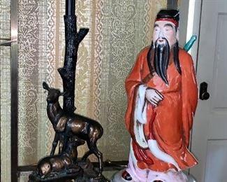 Deer lamp and oriental figurine