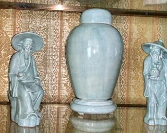 Soft robin egg blue oriental Elder figurines with matching ginger jar
