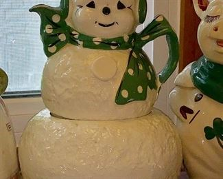 Vintage Riddell Frosty the Snowman stacking teapot and cookie jar - Mid Century