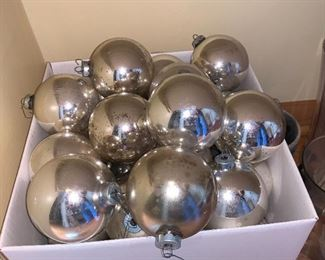 Large box of Vintage silver ornaments