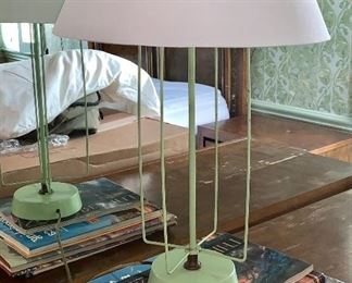 1 of 2 matching vintage green lamps