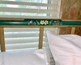 Vintage full size cast iron bed w/hand painted floral design on both the head board and foot board