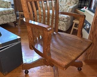 Oak Office chair on wheels
