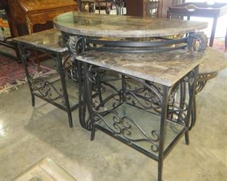 SET OF 5 EXTREMELY HEAVY MARBLE AND WROUGHT IRON TABLES