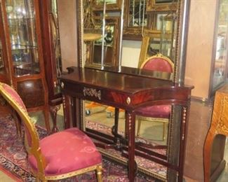 FRENCH CHAIR, ANTIQUE SHERATON SIDE TABLE, LARGE MIRROR