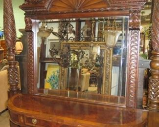 SHERATON SIDEBOARD BY HEKMAN, LARGE CARVED MIRROR