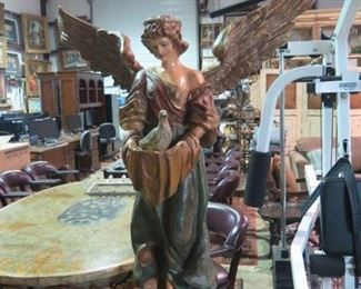 HUGE ANGEL ON PEDESTAL, 74 INCHES TALL
