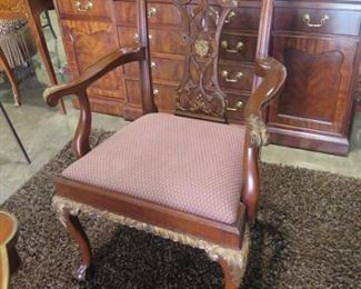 1 OF 2 CHIPPENDALE ARM CHAIRS
