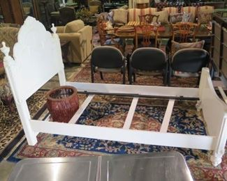 WHITE TWIN BED AND RAILS