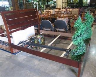 QUEEN WALNUT SLAT BED AND RAILS