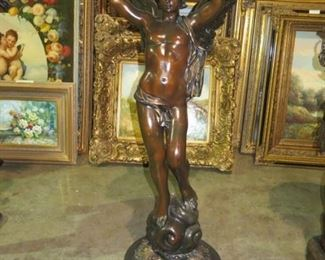 BRONZE ANGEL SCULPTURE 53 INCHES TALL