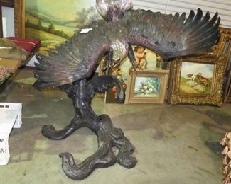 BRONZE EAGLE SCULPTURE BY S. DAVID , 60 INCHES TALL