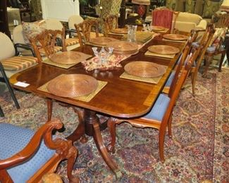 THOMASVILLE DINING TABLE 108 INCHES LONG X 44 WIDE, 8 CHIPPENDALE CHAIRS PLUS 2 EXTRA ARM CHAIRS