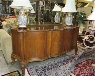 LARGE COUNTRY FRENCH SIDEBOARD, CHINESE LAMPS