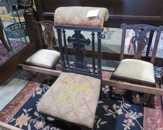 kneeling prayer bench and 2 children chippendale chairs