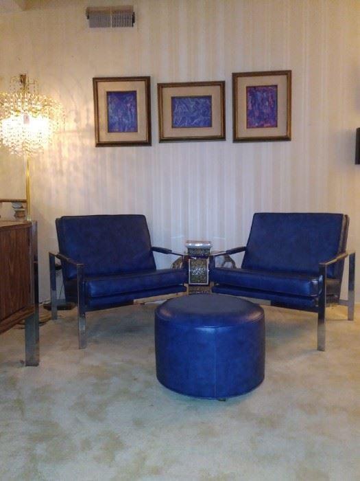 Vintage Mid Century Milo Baumann. Vinyl Accent Chairs