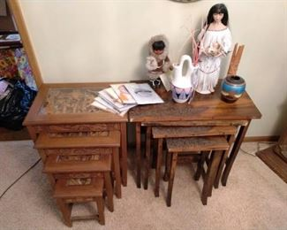 Dining Room: 2 Wood stacking Tables,  Indian Lady Doll, Small Child, Indian Pots