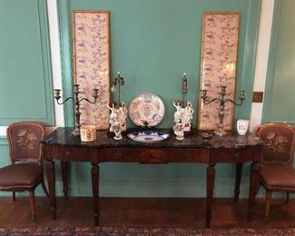 Marble top inlaid sideboard, Japanese silks, Staffordshire lamps