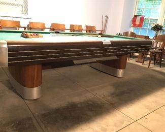 Brunswick Anniversary 9' pool table. They started production of this table in the year 1945 and this one looks to be near the first years of production. It is an Art Deco style and is one of the most popular of all Brunswick models.