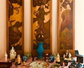 Japanese lacquer panels and Japanese antiques some Chinese antiques too.