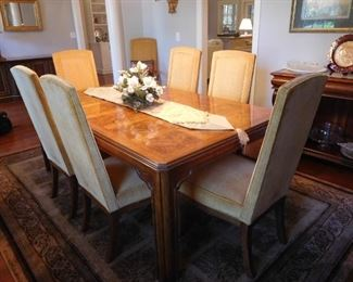 Inlaid Dining Table w/ 8 Chairs