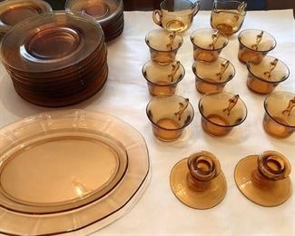Vintage Amber Clear plates cups and candlestick holders