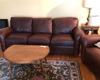 Leather Couch and Two Leather Chairs