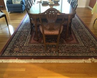 Sheraton Style Dining Table and Set of Dining Chairs           Rug is Sold