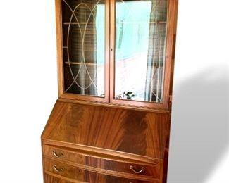 Beautifully restored Chippendale secretary with display hutch.