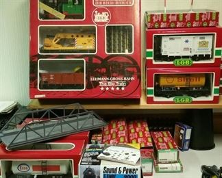 LGB G-Scale trains -- a starter set plus several additional cars plus track, a sound & power transformer, and more.