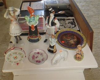 Hollohaza Figurines and Dish, Bing & Grondahl Polar Bear, Hummel Figurine