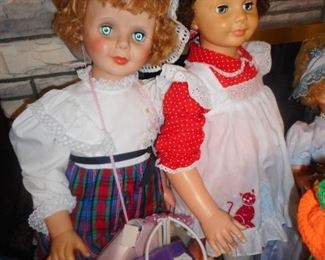 On the Left 38 Inch Tall Patty Play Pal Companion ? Red Dress White Pinafore, Ideal Patty Play Pal Curly Top Doll.
