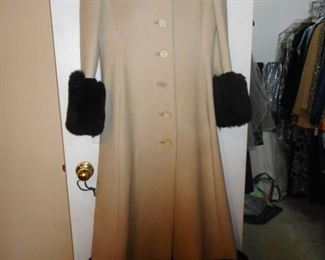 Fabulous Mod Maxi Wool Coat, Fur Trim Cuffs, Fur Trim Bottom of Coat, with Wrap..GORGEOUS!!