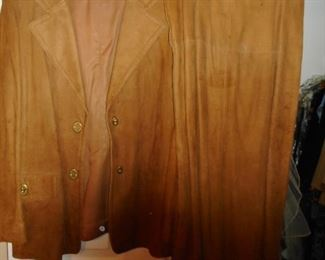 1970 Brown Suede Jacket Skirt