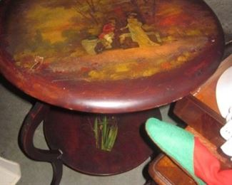 French Antique Hand Painted Table