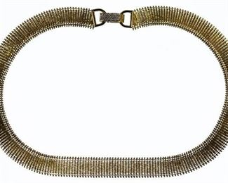 14k Gold and Diamond Woven Necklace