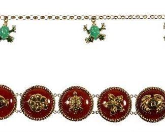 14k Gold and Enamel Sea Creature Bracelets